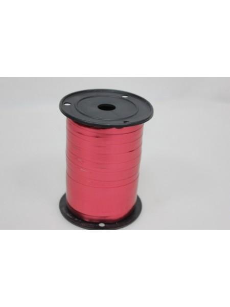 Лента металл 1 см х 100 ярд цвет красный М195