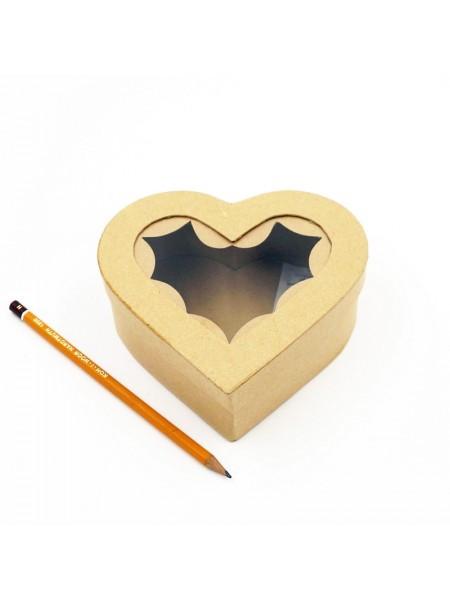 Коробка заготовка с окошком сердце 14 х 13,5 х 5 см