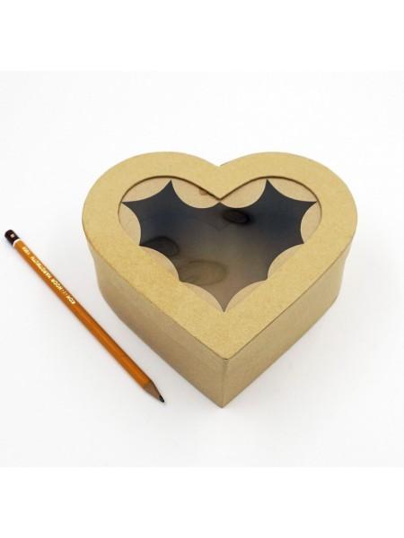 Коробка заготовка с окошком сердце 16,5 х 16 х 6 см