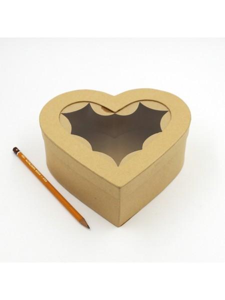 Коробка заготовка с окошком сердце 19 х 18 х 7 см