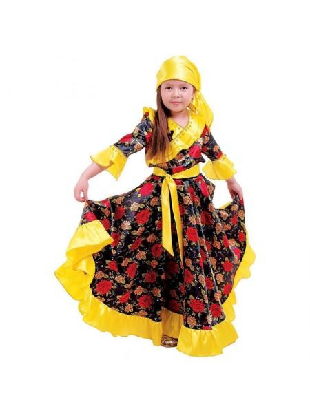Костюм Цыганка косынка - блузка- юбка- пояс рост 116 см обхват груди 60 см  цвет желтый