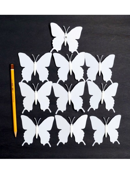 Бабочка на магните набор 10 шт 7,5 х 7,5 см пластик цвет белый