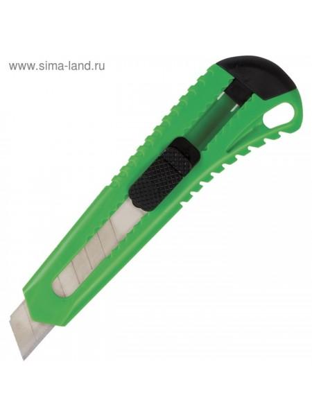 Нож канцелярский BRAUBERG 18 мм фиксатор упаковка европодвес цвета микс