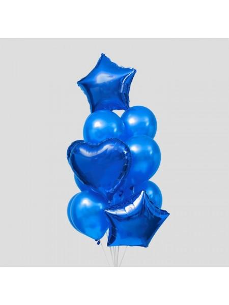 Набор шаров Сердца и звезды латекс фольга набор 14 шт цвет синий