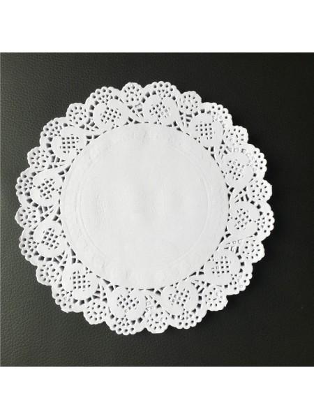 Салфетки ажурные 16,5 см круглые набор 100 шт цвет белый HS-38-11