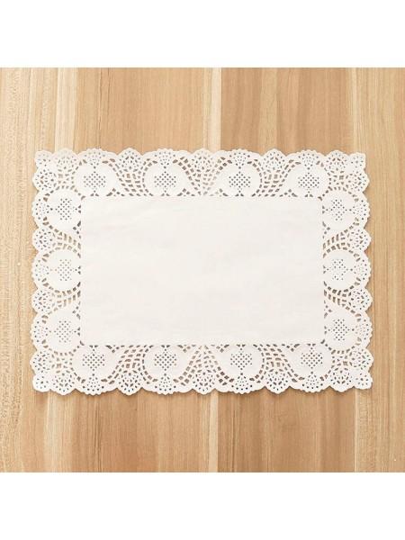 Салфетки ажурные 25 х 35 см прямоугольные белые набор 100 шт HS-38-18