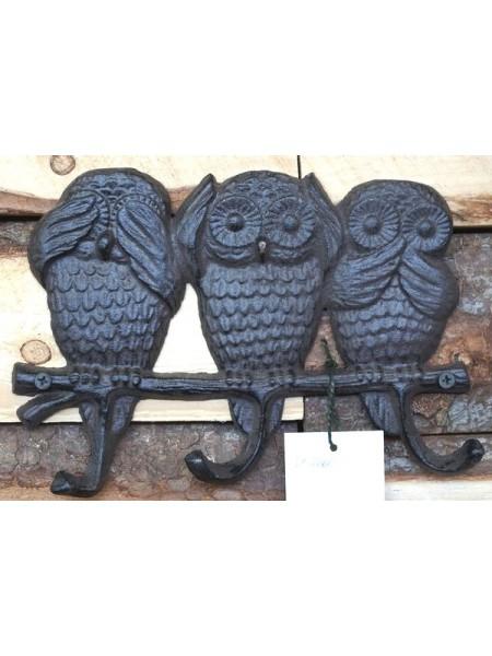 Вешалка Три совы металл 16 х 23 см