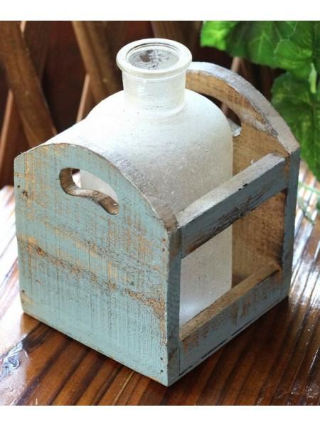 Бутылка в деревянной раме Белый иней  17 х 11 см