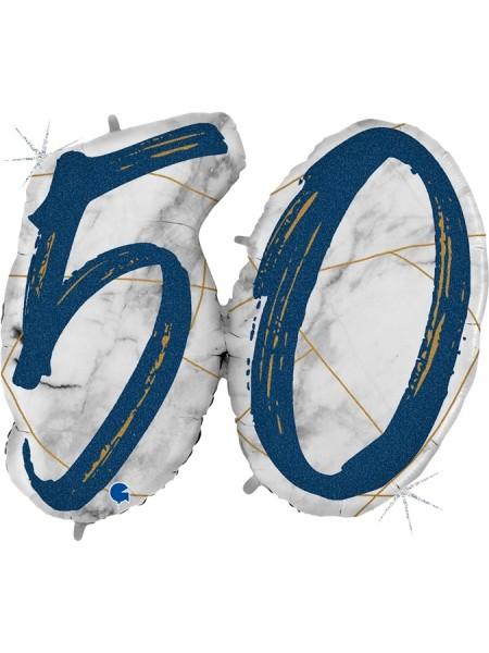 "Фольга шар Цифра 50 44""/112 см Мрамор Калакатта голография синий"