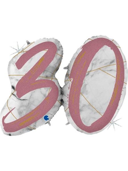 "Фольга шар Цифра 30  43""/109 см Мрамор Калакатта голография розовое золото"