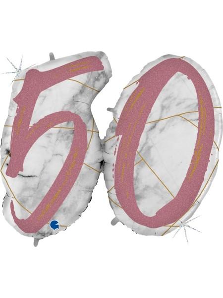 "Фольга шар Цифра 50  44""/112 см Мрамор Калакатта голография розовое золото"