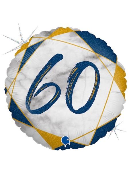 """Фольга шар круг 60 цифра Мрамор Калакатта синий голография 18""""/46 см"""
