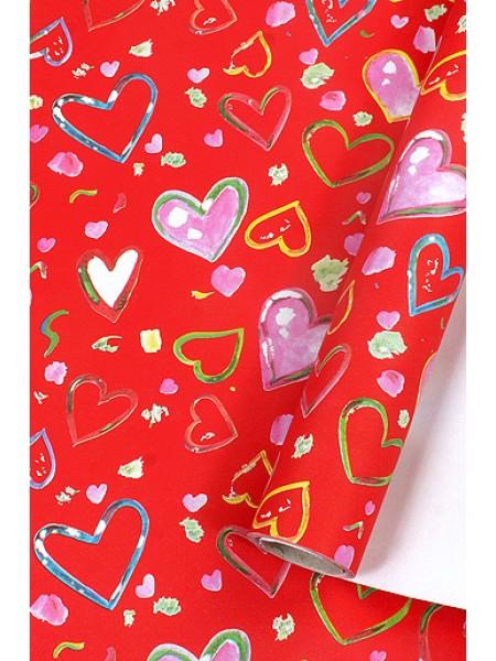 Бумага капелла 40/459-20 эко порхание сердец на красном 100 см х 10 м рулон