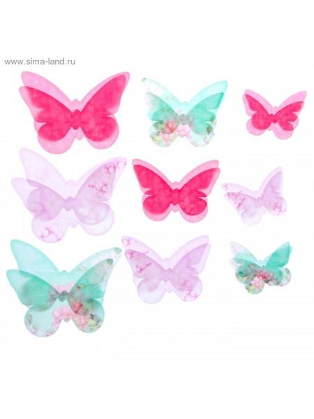 Набор декоративных бабочек Нежный 18 шт (5,5*3,5см, 7,5*5,5см, 9,5*6см)
