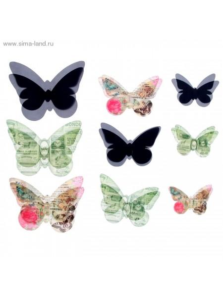 Набор декоративных бабочек Газетный 18 шт (5,5*3,5см, 7,5*5,5см, 9,5*6см)