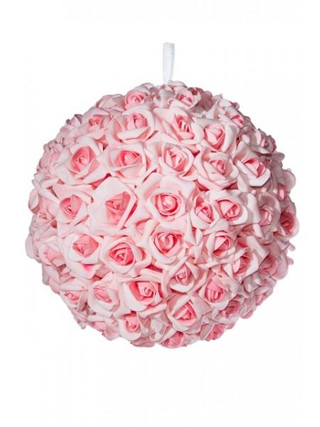 Шар декоративный из искусственных цветов 30 см цвет розовый