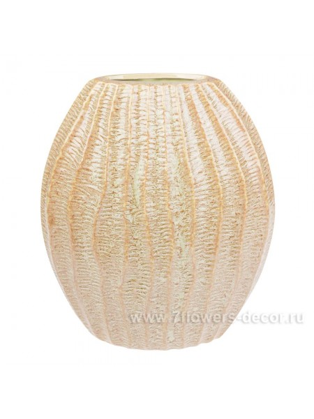 Ваза керамика рельефная 30 х Н36 см цвет светло-зеленый арт. 30410-35