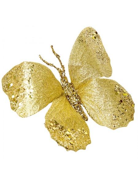 Бабочка на прищепке 18 см набор цвет золото 19473
