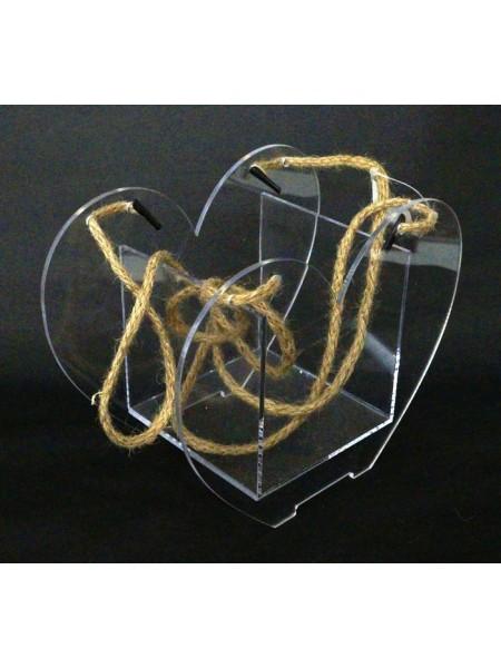 Акриловый бокс-сумка для цветов Сердце 15 х 19 х 10,5 см