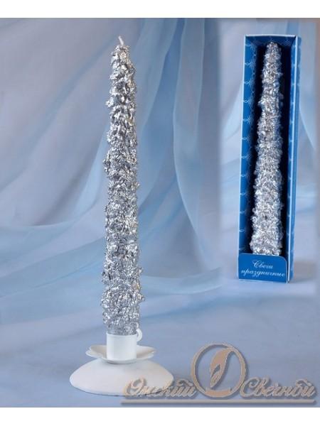 Свеча античная Снежная цвет серебрянный