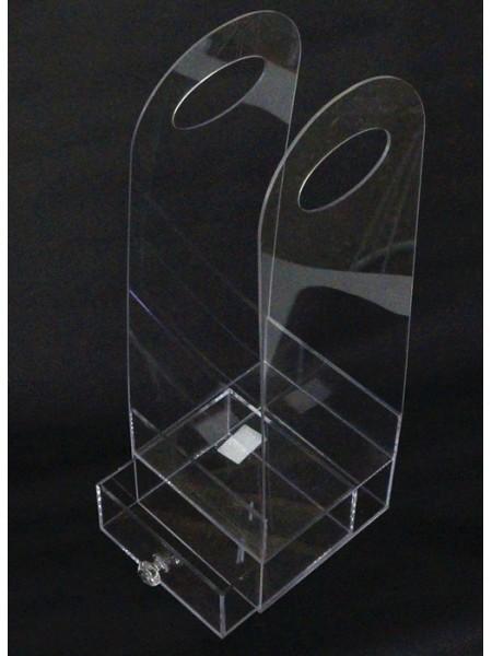 Акриловый бокс-сумка для цветов с выдвижн.ящиком 38 х 12,5 х 12,5 см