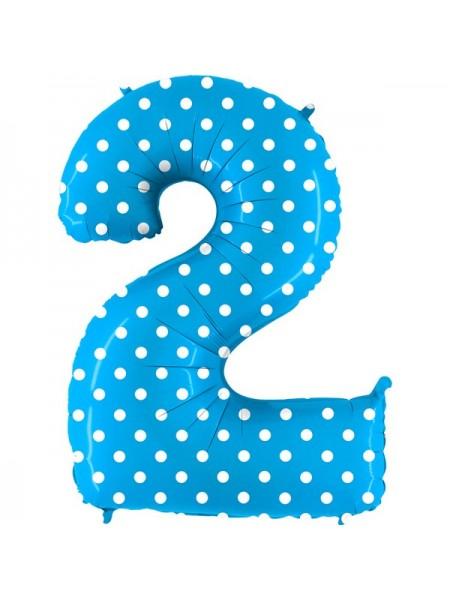 Фольга шар Цифра 2 Горошек на голубом 40