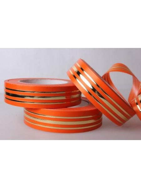 Лента с з/п 3см*50ярд толстая полоса в середине и тонкая по краю L347 цв.оранжевый