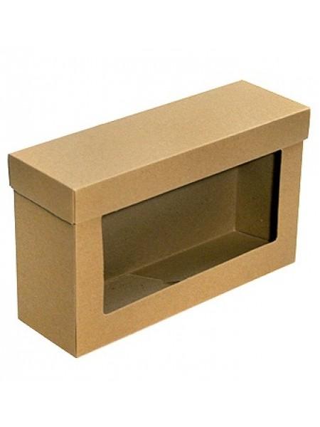 Коробка крафт эко 141/93 прямоугольная 25  х 8,5 х 15 см с окном