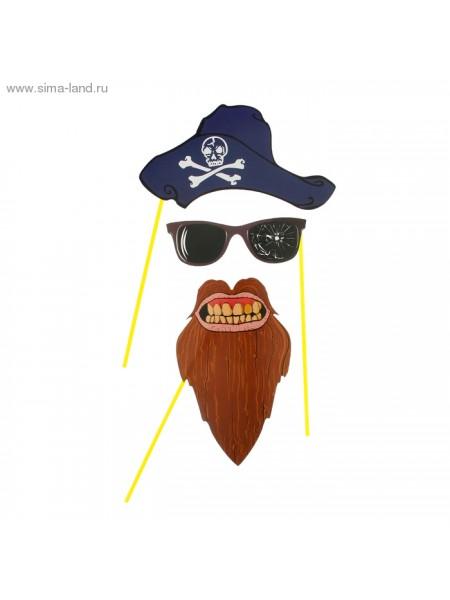 Аксессуары для фотосессии на палочке 3 предмета Пират