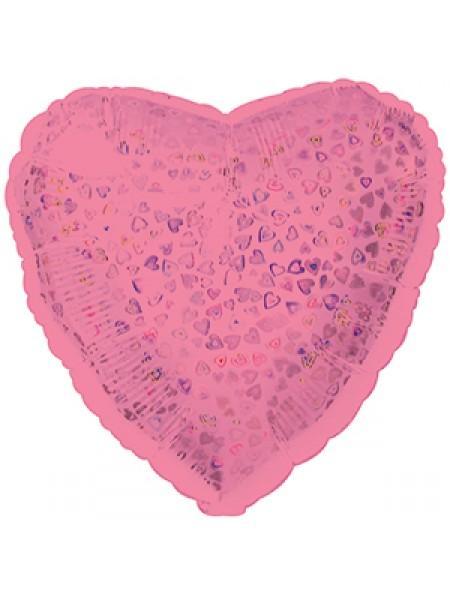 Фольга шар Сердце цвет Розовый голография 18