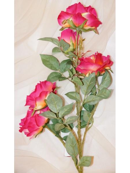 Роза большая 5 бутонов фуксия