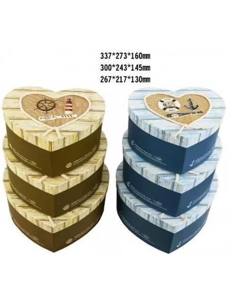 Коробка картон Сердце набор 3 шт 33 х 23 х 16 см  94309-18