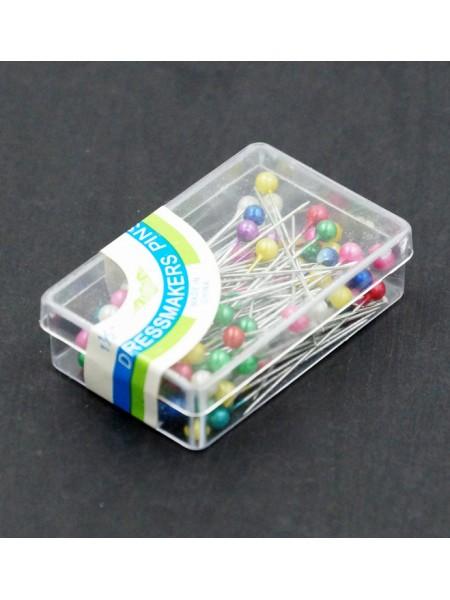 Булавки цветная головка в пластиковой кор.100шт