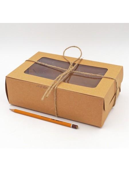 Коробка крафт складная с окном и шнуром 23,5 х 16 х 7 см HS-10-4