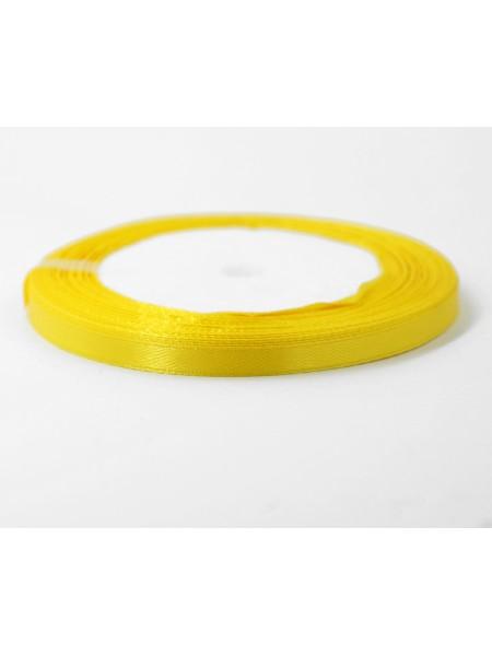 Лента атлас 0,6 см х 25 ярд цвет желтый