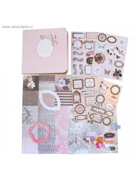 Набор для оформления фотоальбома 30,5х20х2,5 см Розовая нежность