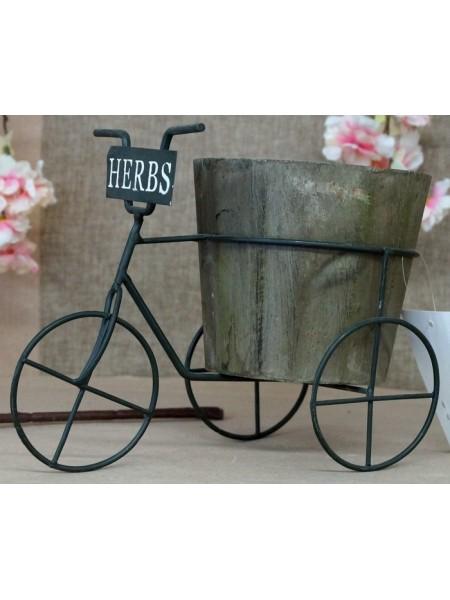 Велосипед с кашпо дерево + металл 23см
