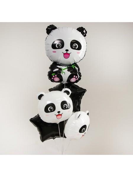 Букет шаров Веселые панды набор 5 шт