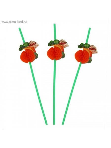 Трубочка  для коктейля гофре Денег в новом году мандаринка набор 6 шт