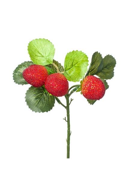Ветка клубники 28 см цвет красный арт. 0599-10