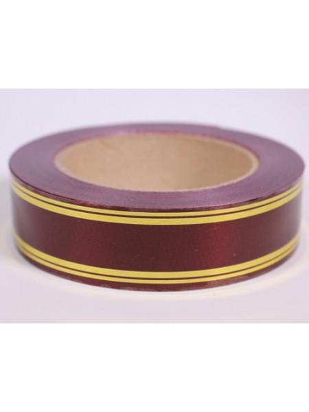 Лента с золотой полосой 3 см х 50 ярд классика полосы по краю цвет Бордо