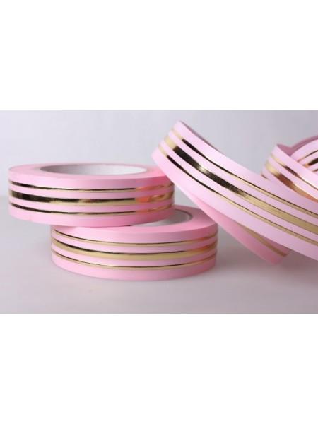 Лента с з/п 3 см х 50 ярд Толстоя полоса в середине и тонкая по краю цвет Розовый
