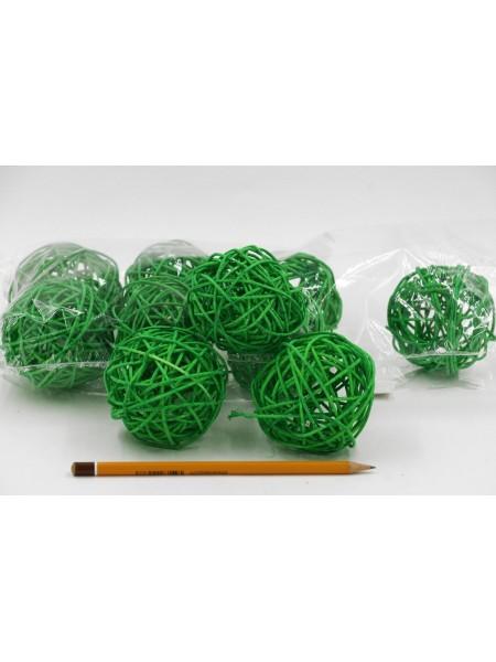 Набор шаров ротанг 7 см 10 шт цвет зеленый HS-26-9