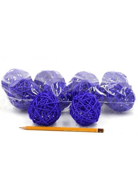 Набор шаров ротанг 7 см 10 шт цвет синий HS-26-9