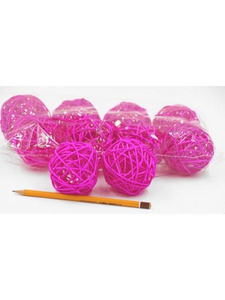 Набор шаров ротанг 7 см 10 шт цвет темно-розовый HS-26-9