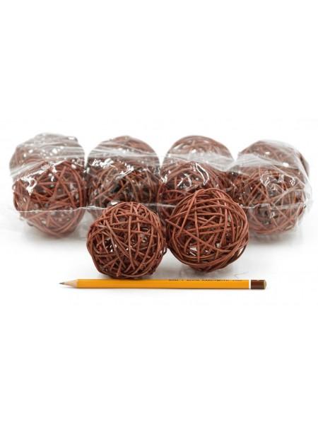 Набор шаров ротанг 7 см 10 шт цвет коричневый HS-26-9