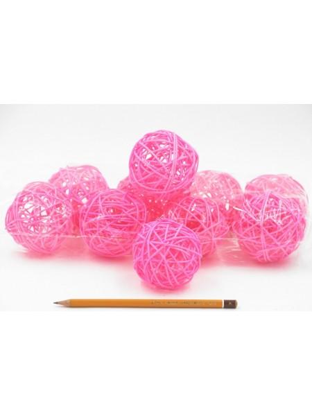 Набор шаров ротанг 7 см 10 шт цвет розовый HS-26-9