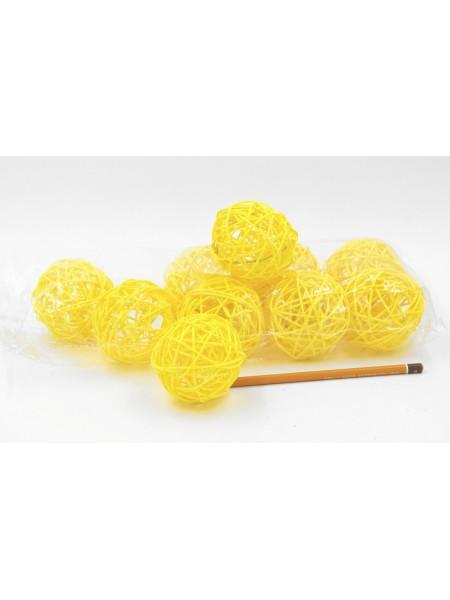 Набор шаров ротанг 7 см 10 шт цвет желтый HS-26-9