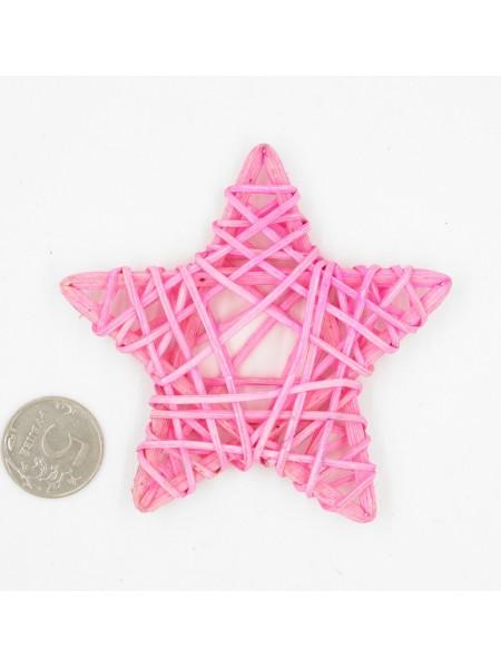 Звезда ротанг 9 см цвет розовый  HS-26-7