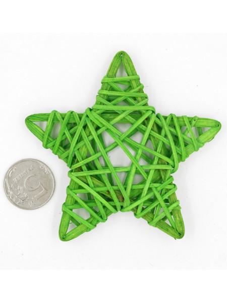 Звезда ротанг 9 см цвет зеленый  HS-26-7